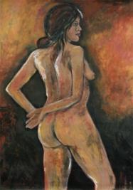 Painting - Orange Nud