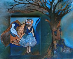 """Wonderland"" with paint, collage, tree bark and more"